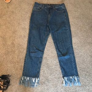 Misguided high rise fray jeans